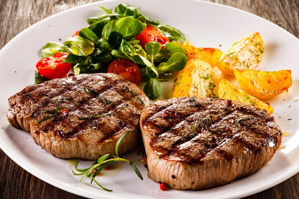 Steak is a dish made from beef originating from the West